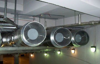 VRV forced air ventilation exhausts